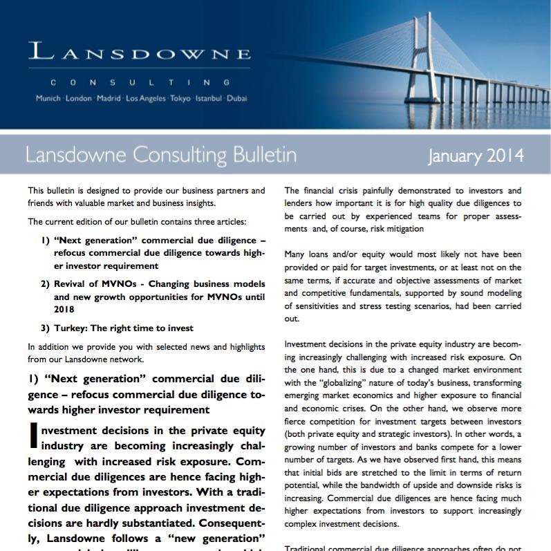 Lansdowne Veröffentlicht März Bulletin: Commercial Due Diligence, Mobilfunkbetreiber Und Investitionsmöglichkeiten In Der Türkei