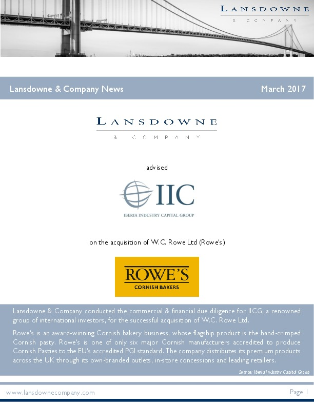 Lansdowne & Company news March 2017