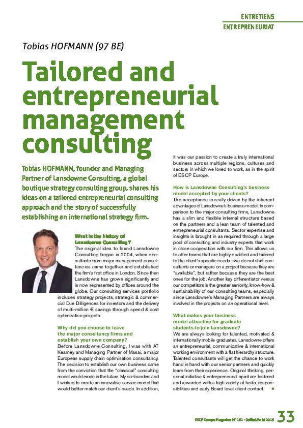 Lansdowne Managing Partner Tobias Hofmann im ESCP Europe magazine