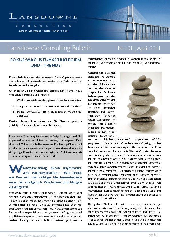 Lansdowne releases April Bulletin: Growth strategies and trends: asymmetric partnerships, the photovoltaic industry and local growth potential