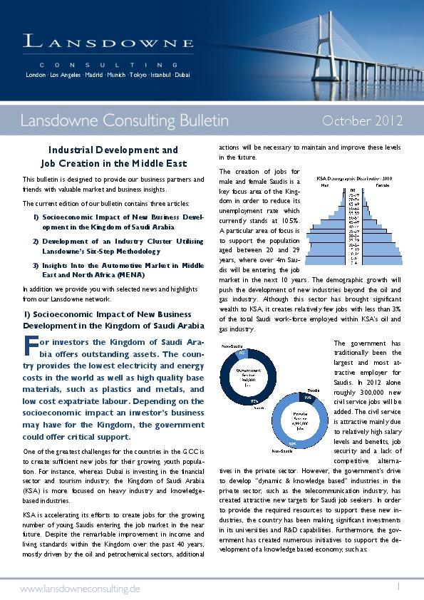 Lansdowne veröffentlicht Oktober Bulletin: Industrielle Entwicklung und Schaffung von Arbeitsplätzen im Nahen Osten