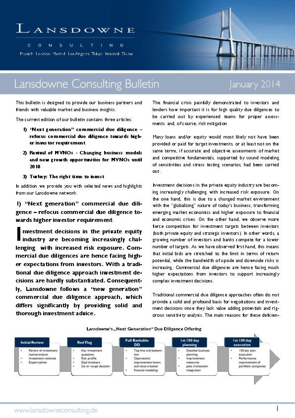 Lansdowne releases March Bulletin: Commercial Due Diligence, MVNOs and Investment Opportunities in Turkey