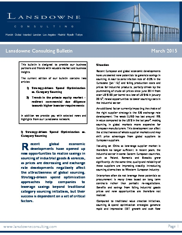 "Lansdowne veröffentlicht neuen Bulletin zum Thema ""Strategy-driven Spend Optimisation vs. Category Sourcing & trends in the private equity market"""