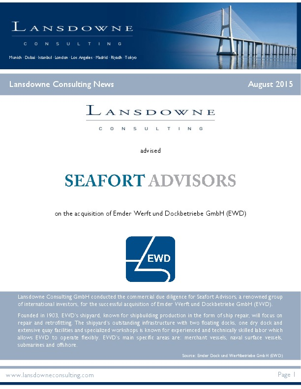 Lansdowne supported acquisition of major German shipyard