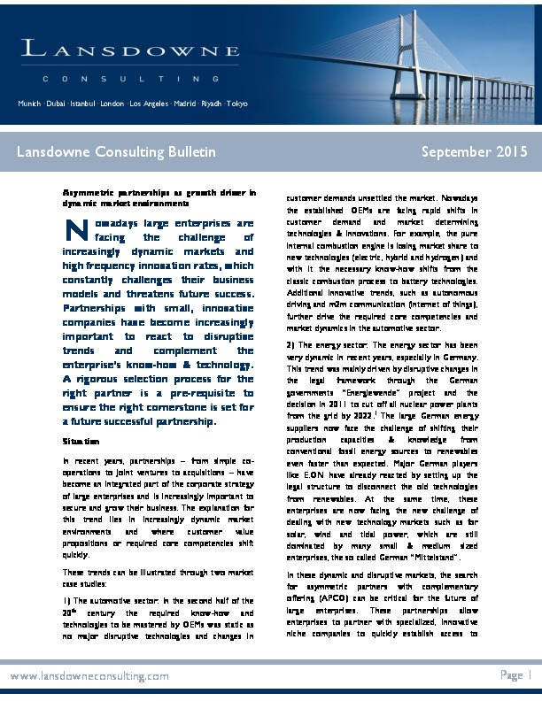 "Lansdowne veröffentlicht neuen Bulletin zum Thema ""Asymmetric partnerships as growth driver in dynamic market environments"""