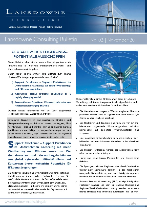 Lansdowne releases November Bulletin: tap the full potential of global value creation
