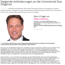 "Lansdowne Managing Partner Tobias Hofmann im Interview des Financial Yearbook zum Thema ""Steigende Anforderungen an die Commercial Due Diligence"""
